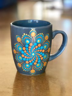 Excited to share this item from my shop: Coffee cup/mug dot mandala 12 oz hand painted Gray, orange, turquoise, gold Triangles, Mandalas Painting, Mandalas Drawing, Dot Art Painting, Pottery Painting, Painting Pots, China Painting, Bottle Painting, Bottle Art