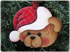 HP Teddy Bear Face Santa Hat Ornament | eBay