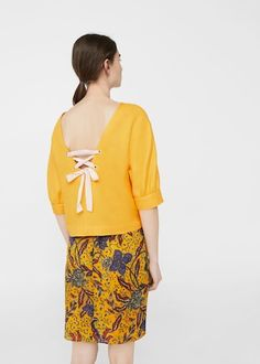 Back bow blouse | MANGO