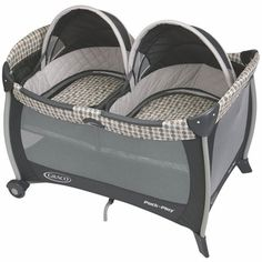 Graco Pack N Play with Twins Bassinet - Vance with FREE 2 Pack Twins Playard Sheet ****This would be one wy to sleep them!!