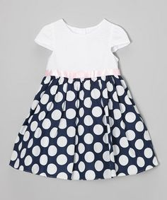 Look what I found on #zulily! Navy & White Polka Dot Dress - Infant by Rare Editions #zulilyfinds