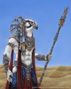 Horus by darknatasha egyptian god stargate bird humanoid fighter wizard staff armor clothes clothing fashion player character npc | Create your own roleplaying game material w/ RPG Bard: www.rpgbard.com | Writing inspiration for Dungeons and Dragons DND D&D Pathfinder PFRPG Warhammer 40k Star Wars Shadowrun Call of Cthulhu Lord of the Rings LoTR + d20 fantasy science fiction scifi horror design | Not Trusty Sword art: click artwork for source
