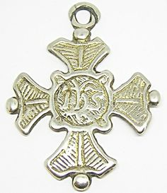 #jewelry #problem geography Superb Medieval Silver-gilt Pectoral cross pendant. Ihs monogram, c. 15th - 16th century AD. FOR SALE: www.ancient-jewellery.com