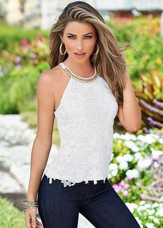 Style forecast: pearl and lace! Venus pearl and lace detail top.