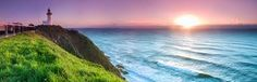 Photo about Byron bay lighthouse during sunrise. Image of light, dawn, lighthouse - 25367308 Best Beaches To Visit, Cool Places To Visit, Cairns, Sydney, Australian Road Trip, Beaches In The World, South Wales, Roadtrip, Byron Bay