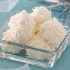 No Bake Pineapple Coconut Snowballs Recipe:1 package (8 ounces) cream cheese (softened). 1 can (8 ounces) crushed pineapple (well drained). 2-1/2 cups flaked coconut. In a small bowl, beat cream cheese and pineapple until combined. Cover and refrigerate for 30 minutes. Roll into 1-in. balls; roll in coconut. Refrigerate for 6 hours or overnight. Yield: about 2 dozen. Making this soon