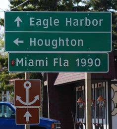 US Highway 41 starts at Copper Harbor, MI and goes all the way to Miami, FL, 1,990 miles away.