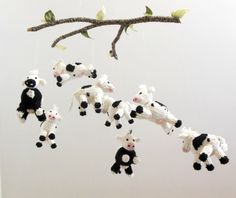 Dairy Cow Mobile Cow Baby Mobile Farm Barnyard by SweetBauerKnits, $460.00- the price of this is absurd but it's cute