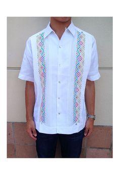 968c60d739 Codice Guayabera - White with Multi Colored Embroidery Guayabera Blanca