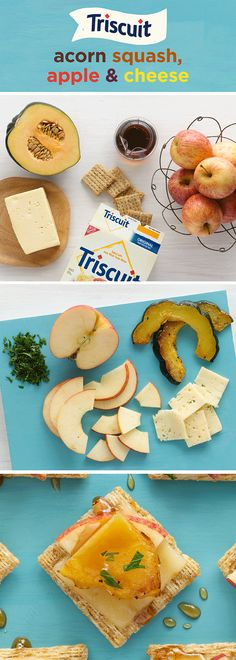 Ease the end-of-summer blues with a sweet & savory autumn appetizer of squash, apple & melted cheese! Heat oven to 425°F & cut squash into 1/2-in-thick slices. Brush oil on both sides of squash slices & bake 12-13 min. on each side until tender, golden brown. Top TRISCUIT Crackers with Havarti cheese and bake 3-5 min. at 350°F or until cheese is melted. Remove squash peels & cut into 1-inch pieces, then top crackers with apples & squash, drizzle with syrup & sprinkle with parsley to finish!