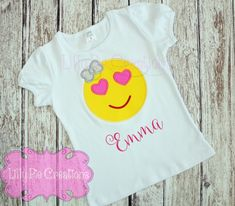 Love Emoji Girls Applique Shirt, Emoji Shirt, Emoji Birthday
