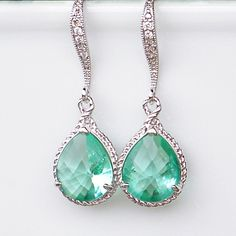 New Color/ Sea Glass Crystal Teardrops Framed in Silver, Hanging From French Jeweled Earrings - Etsy  $38