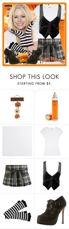 """THE ROCK PRINCESS SAYS HAPPY HALLOWEEN!"" by hkprincess ❤ liked on Polyvore featuring Elizabeth Taylor, Crate and Barrel, Farhi by Nicole Farhi, Wet Seal, Hello Kitty, Betsey Johnson, ankle boots, avril lanvigne, vest and halloween"