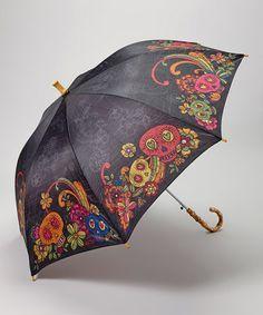 zulily Karma Black Sugar Skull Umbrella by Karma Memento Mori, Skull Fashion, Punk Fashion, Lolita Fashion, Umbrellas Parasols, Under My Umbrella, Singing In The Rain, Mo S, Skull And Bones