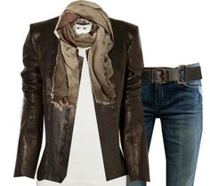 Love this - brown leather jacket with jeans :)