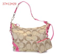Coach New Madison Signature Sateen Shoulder Bag Pink