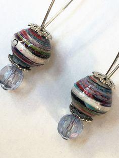 Paper Beads Earrings - Light Blue - EAR 00402