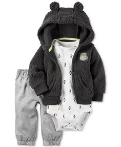 Carter's 3-Pc. Faux-Fur Hoodie, Bodysuit & Pants Set, Baby Boys (0-24 months) | macys.com