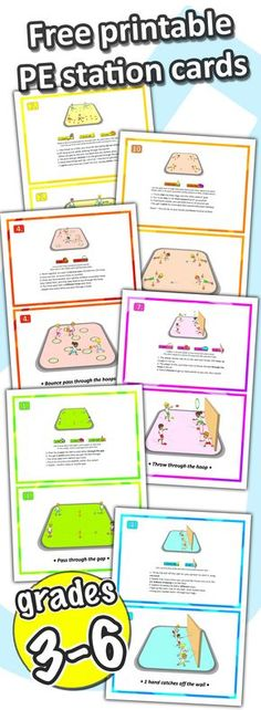 6 free printable PE station cards - sport games and ideas for your lessons at school