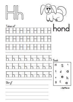 Grade R Worksheets, Alphabet Writing Worksheets, Printable Preschool Worksheets, Preschool Learning Activities, Preschool Math, Worksheets For Kids, Numbers Preschool, Alphabet For Kids, Afrikaans Language