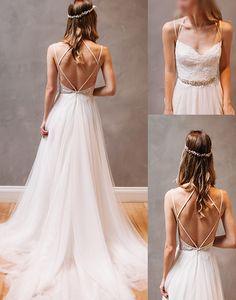Sexy Backless Wedding Dress,Spaghetti Straps Open Back Wedding Dresses,Lace and Tulle Wedding Gown, Beach Wedding Dress,A-line Wedding Dress,wedding dresses