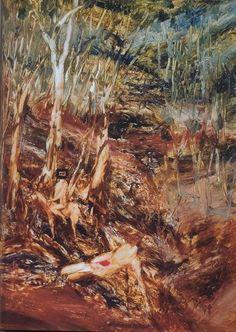Sidney Robert Nolan Gully (Ned Kelly), 1964 x 122 cm. Sidney Nolan, Ned Kelly, Australian Art, Artist, Painting, Oil, Board, Artists, Painting Art