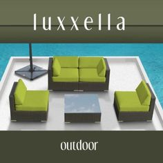 $1150 Amazon.com: Genuine Luxxella Outdoor Patio Furniture Wicker Contemporary Sofa Sectional BELLA 5pc Set PERIDOT: Patio, Lawn & Garden