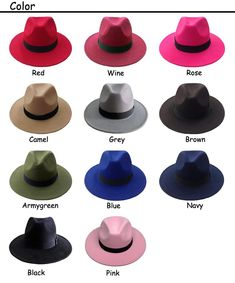 a2201aec949 Retro Fedora Hats in Colors For men and women. Winter Felt Caps with Wide  Brim