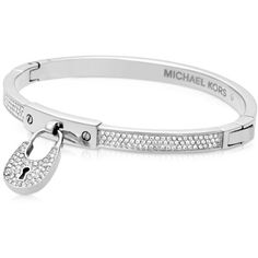 Michael Kors Bracelets Chains & Elements Metal Bangle w/Crystals ($175) ❤ liked on Polyvore featuring jewelry, bracelets, silver, michael kors bracelet, charm bracelet, engraved bracelet, bangle charm bracelet and charm bangle