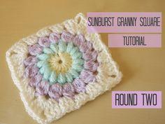 HOW TO CROCHET: Sunburst granny square tutorial, ROUND TWO   Bella Coco