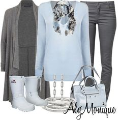 """Light Blue and Grey (Untitled #382"""" by alysfashionsets on Polyvore)"""