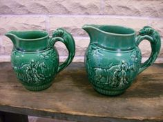 A Pair of Majolica Wedgewood  Pitchers with Dog by buckeyeantiques, $90.00