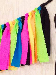 Neon Party Fabric Tie Garland | $29 at http://shop.thepartyteacher.com/products/neon-party-fabric-tie-garland