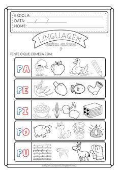 Notebook da Profª: Reconhecimento Fonético - sílabas do P Alphabet Crafts, Preschool Crafts, Professor, Kindergarten, Bullet Journal, Education, Homeschooling, Language Activities, Kids Learning Activities