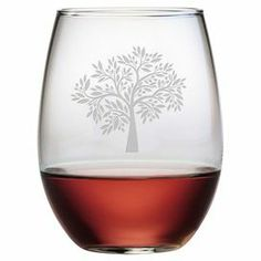 "Showcasing a hand-etched typographic motif, this essential stemless wine glass is perfect for offering a favorite vintage at your next soiree or enjoying a crisp chardonnay with dinner. Product: Set of 4 stemless wine glassesConstruction Material: GlassColor: ClearFeatures: Each decoration is deeply sand etched into the glass surface by hand in a 110+ year old factory in Pennsylvania Dimensions: 4.6"" H x 2.75"" Diameter Cleaning and Care: Dishwasher safe"