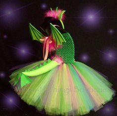 DRAGON COSTUME DRESS 4pc Set Tutu horn ears by wingsnthings13