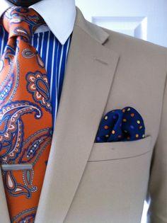 #Beige #Blazer #Jacket #Orange #Paisley #Tie #Blue #Striped #Shirt #PolkaDot #Handlerchief #Preppy