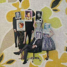 Collage made from postage stamps, magazine clippings and vintage wallpaper: Corporate Image (2013)
