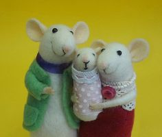 Needle felted mouse Felt mice family Baby от MollyDollyNatural