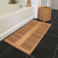Teak Bath Mat - Teak Wood Bath Mat - Saratoga Spa Collection - Country Casual Bahtroom ideas 2019 - Home Decor Bamboo Bathroom, Wooden Bathroom, Bathroom Spa, Bathroom Rugs, Bathroom Ideas, Master Bathroom, Wood Spa, Beach Wood, Diy Wood