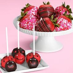 Delectable Valentine's Day bites: Love Bug cake pops and assorted dipped strawberries, Shari's Berries, $44.98.
