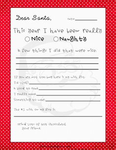 Printable Christmas Letter to Santa