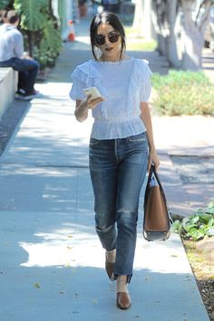 Vanessa Hudgens wearing Celine Smooth Calfskin Tricolor Micro Luggage Khaki, Citizens of Humanity Liya Jeans in Trouble Maker, Isabel Marant Nathan Ruffled Top and By Far Sienna Shoes