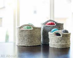 Chunky Crocheted Baskets .