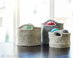 Chunky Crocheted Baskets .