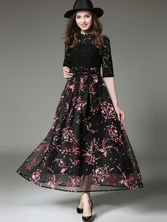 #AdoreWe #TideBuy TideBuy Chic Floral Imprint Long Sleeve Maxi Dress - AdoreWe.com