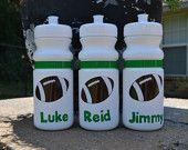 Personalized 20 oz. white football sports bottle