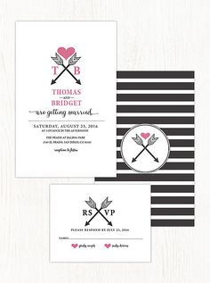 This arrow-heart invitation is superposh and comes in multiple colors, so you can choose a palette that fits your style. Source: