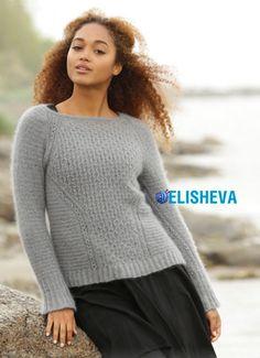 Женский пуловер из мохера с красивым узором от Drops Design вязаный спицами | Блог elisheva.ru