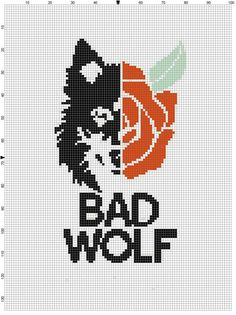 Doctor who bad wolf cross stitch pdf by CrossStitchGraphghan Maybe do for amelia, maddie, or tina? Geek Cross Stitch, Beaded Cross Stitch, Cross Stitch Charts, Cross Stitch Designs, Cross Stitch Embroidery, Hand Embroidery, Kirigami, Doctor Who Crochet, Cross Stitch Alphabet Patterns